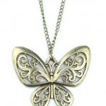 Retro-Classic-vintage-Bronze-butterfly-pendant-necklace-chain