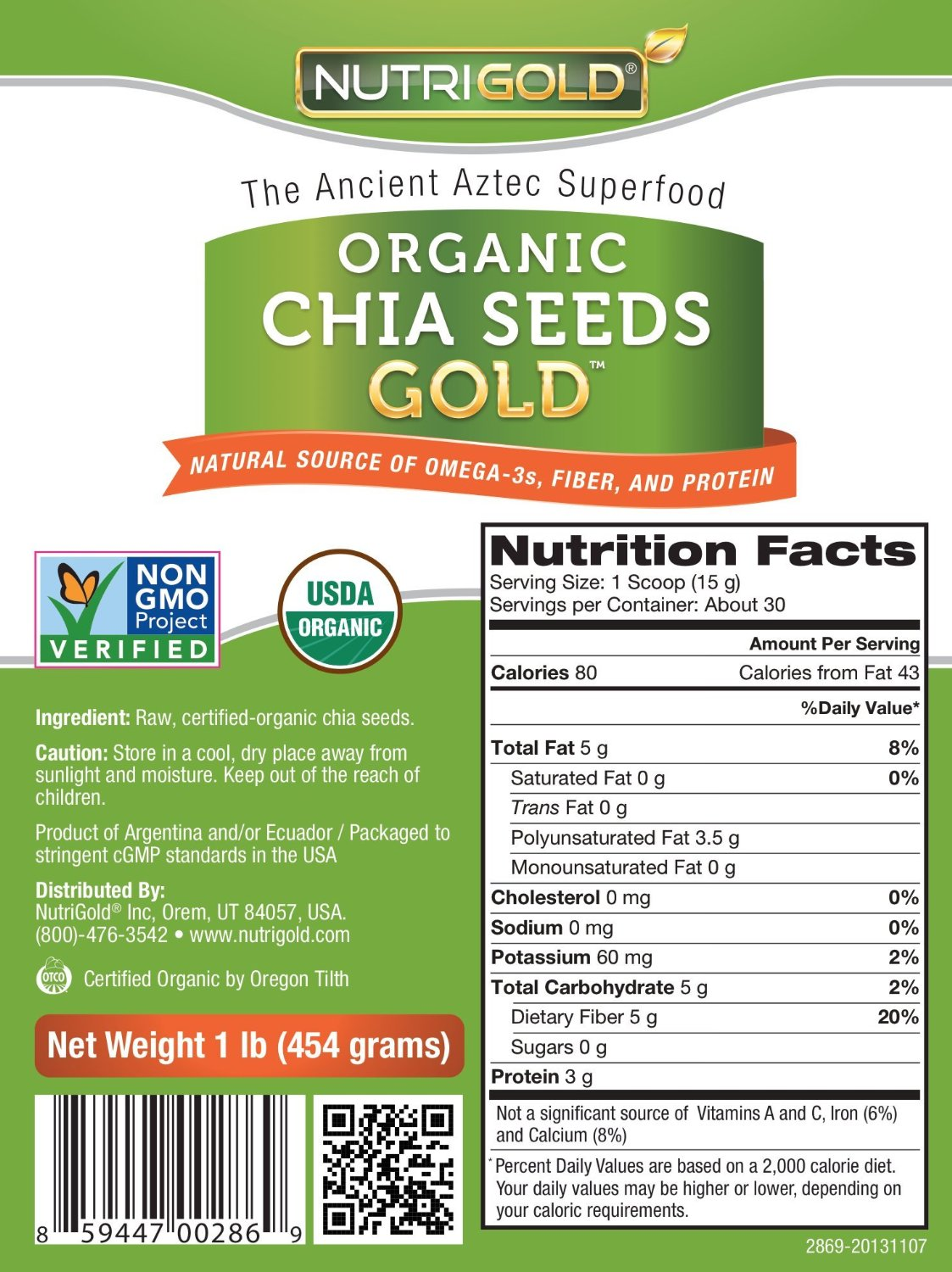 Chia Seed Nutrition Label