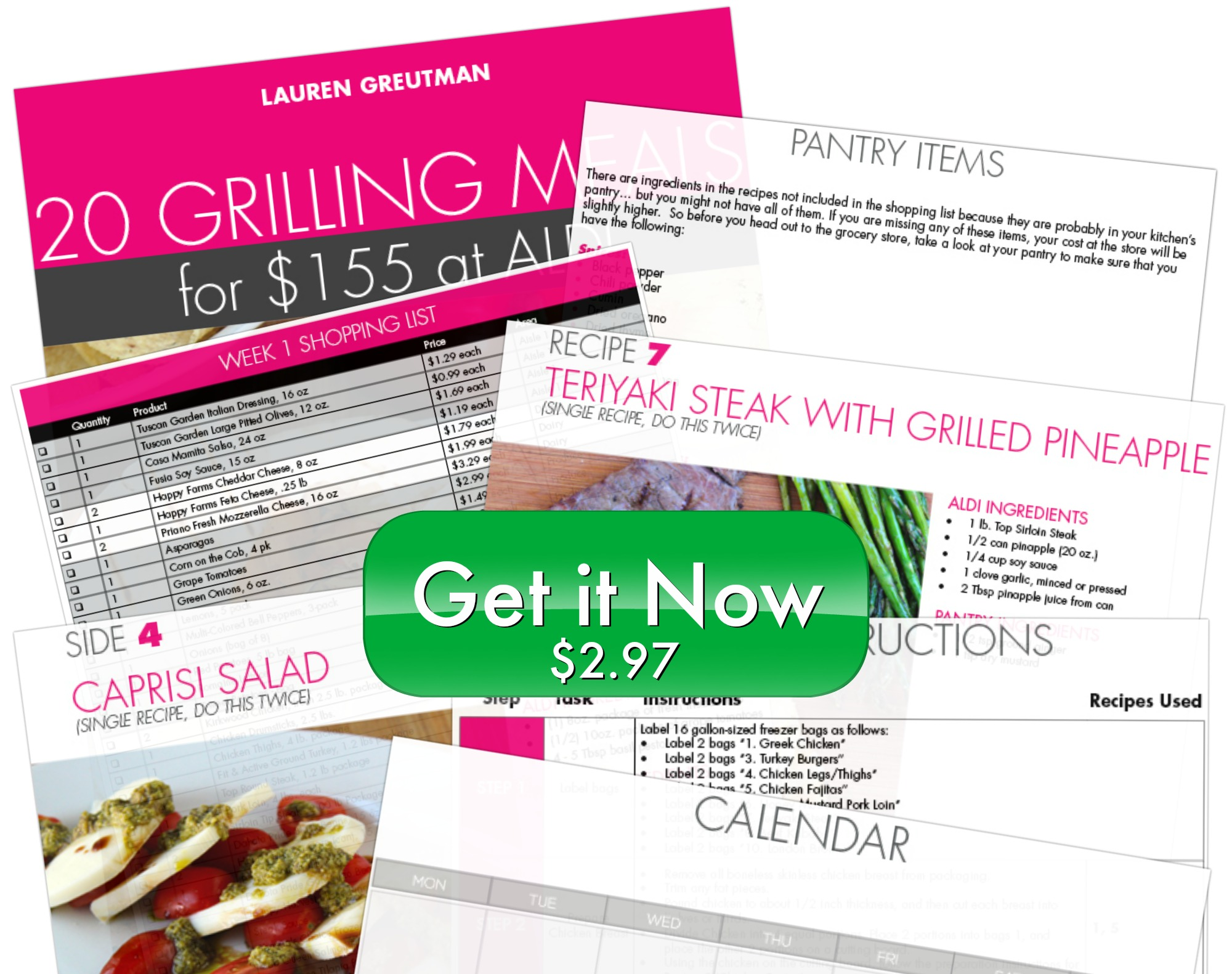 Grilling Plan collage with button and price